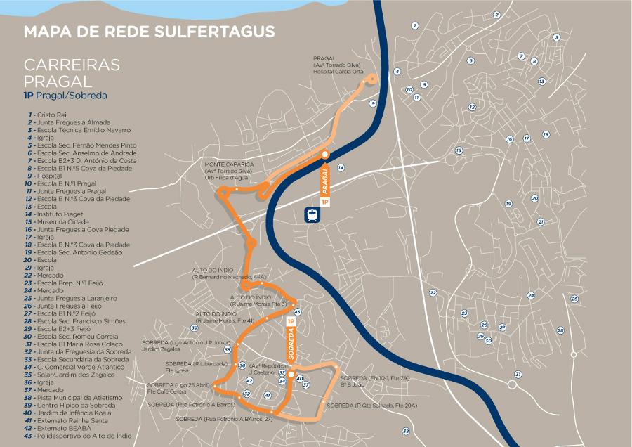 mapa pragal Sulfertagus Pragal mapa pragal